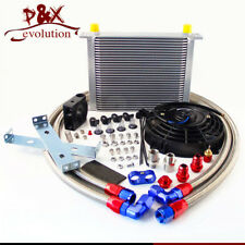 """Universal AN10 30 Row Oil Cooler Thermostat Sandwich +7"""" Electric Fan kit sliver"""