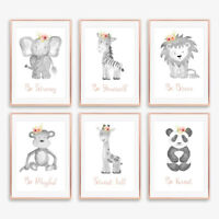 Grey & Blush Pink Floral Boho Animal Baby Nursery Prints Childrens Bedroom Decor