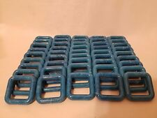 """Lot of 50 Square 2"""" Two Inch Blue Marble Plastic Marbella Macrame Craft Rings"""