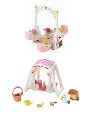 Two Sylvanian Families Outdoor Play Sets Sold Together - Seesaw and Baby Swing