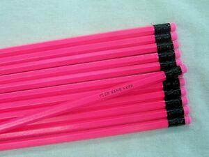 "12 Hexagon ""NEON Pink"" Personalized Pencils"