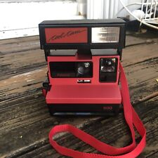 Vintage Polaroid Cool Cam 600 Instant Camera Red Black 80s 90s WORKS Flash Strap
