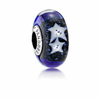 New Authentic Pandora Charms 925 ALE Sterling Silver Blue Murano Glass CZ Bead