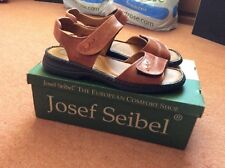 Ladies sandals by Joesph Seibel. Brown leather inner and upper. Velcro.