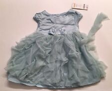 Gymboree Snowflake Unicorn 12-18 Months Aqua Tulle Ruffle Dress - 1 Loose Ruffle