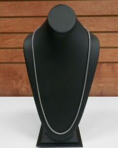 "David Yurman 32"" 3.6mm Box Chain Necklace 925 Sterling Silver 14k 585 Gold Logo"