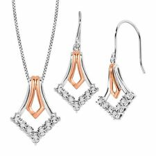 Drop Earring & Pendant Set with Diamonds in 14K Rose Gold-Plated Sterling Silver
