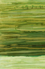 Anthology Batik Fabric Handpainted Rainfall #15 Green, By The Half Yard,