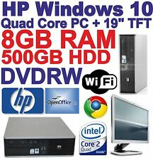 "Windows 10 HP Core 2 Quad Desktop PC Computer & 19"" TFT -8GB RAM - 500GB HDD"