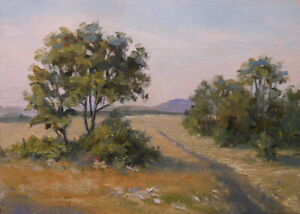 Long Road Home, 5x7 original oil painting by Celene Farris Maine. field, trees