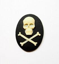 4 of 40x30 mm Cream over Black Pirate Skull & Cross Bone Cameos Gothic Steampunk