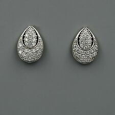 18K White Gold Plated Cubic Zirconia CZ Flower Wedding Bridal Stud earrings 4117
