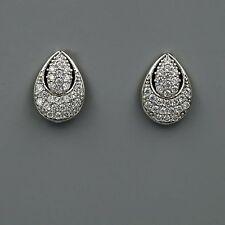18K White Gold Plated Cubic Zirconia CZ Flower Wedding Bridal Stud earrings 4117