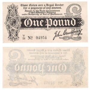 One Pound Treasury Note (1914) Bradbury - BYB ref: TR10d - aUNC condition.