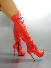 MORI OVERKNEE PLATFORM SEXY BOOTS STIEFEL STIVALE BOTAS LEATHER SHOES RED ROSSO