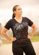 J&P Cycles® Flying Skull Ladies Black V-Neck Biker T-Shirt Large 100% Cotton  M9