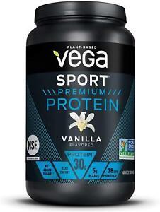Vega Plant Based Sport Protein Powder Vanilla Flavored 29.2 Oz 20 Servings 11/22