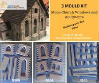 Model Railway Stone Building Kit - 3 Mould Church starter kit - OO Scale Kit01