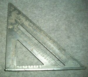 "Vintage Johnson Level & Tool No RAS-1 7"" Aluminum Carpenter's Square W/Defect"
