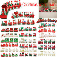 Christmas Wooden Train Santa Claus Xmas Festival Ornament Home Decor Kids Gifts
