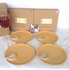 "4 Butternut Yellow Wine Glass Holder 10"" Plate Longaberger Dine in style New Box"