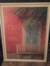 Cafe Chez Nino Fabrice de Villeneuve Print Wood Expert Framed