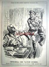"1915 WW1 Churchill To Army Punch Cartoon Print - ""Churchill S'en Va-t-en Guerre"""