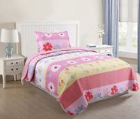 Kids Bedspread Quilts Set Throw Blanket for Teens Boys Girls Bedding Pink Stripe