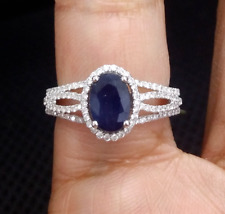Deal! 1.80CTW Genuine Natural Sapphire & Diamond Ladies Band Ring 14K Gold