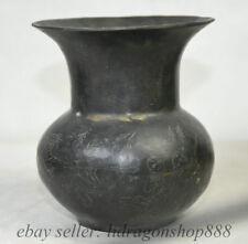 """4.6 """"Marquage Vieux Chine Bronze Kid Enfant Modèle Mini Pot Bouteille Vase"""