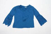 TU Womens Size 8 Cotton Blend Blue Top (Regular)