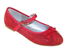 Girls Red Sparkly Glitter Party Shoes Dorothy WOZ Ballerina Bridesmaid Occasion UK 13 Kids