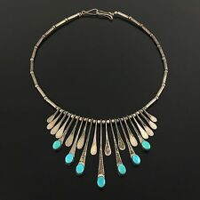 OLD NATIVE AMERICAN NAVAJO HANDMADE STERLING SILVER & TURQUOISE BIB NECKLACE