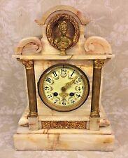 Antique Onyx Mantel Clock Japy Freres Mvmt Great Case Porcelain Dial Woman Bust