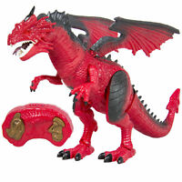 Remote Control RC Dragon Walking Dinosaur Lights & Sounds Kid Pet Toy Animal