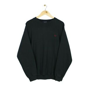 Fred Perry Vintage 90s Mens Black Crew Neck Oversized Sweatshirt - Size XL