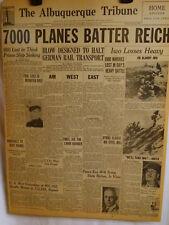 1945 Vintage Newspaper-Planes Batter Reich-Roosevelt-Marines-Prison Ship-IWO