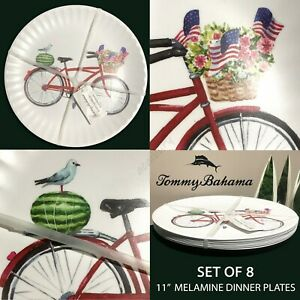 SET OF 8 Tommy Bahama Bike USA Flags Flowers Watermelon Melamine Dinner Plates