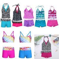 Kids Girls Halter Swimsuit Swimwear Bathing Suit Seawear Tankini Bikini Set 2Pcs