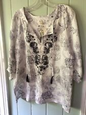 NWT Malvin Hamburg-Germany Navy White linen paisley peasant boho blouse Medium