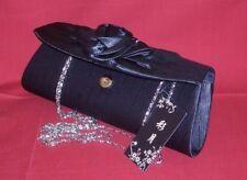 señoras elegantes Bolso de noche Clutch Satén Negro Bolso de mano NUEVO