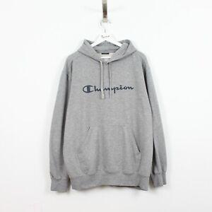 AC61 Vtg Champion Men Grey Jumper Sweatshirt Pullover Hoodie Size XL