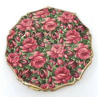 Stratton Convertible Powder Compact Red Rose Field 1960s Princess Puff Sifter