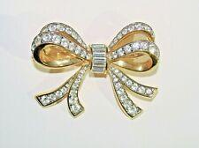 Swarovski Swan Signed Double Bow Crystal Gold Tone Brooch Pin Ribbon