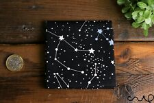 Handmade Unisex Pocket Square Cotton Handkerchief Black Horoscope Star Wedding R