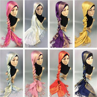 Muslim Women Hijab Tassel Long Scarf HeadWrap Islamic Big Shawls Hat Scarves Cap