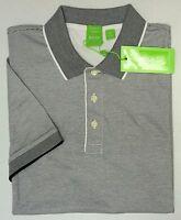 NWT $125 Hugo Boss Modern Fit White Stripe Polo Shirt C-Janis Men M Short Sleeve