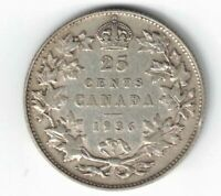 CANADA 1936 TWENTY FIVE CENTS QUARTER KING GEORGE V .800 SILVER COIN