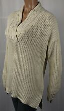 Ralph Lauren Womens 1362 Ivory V Neck Long Sleeve Sweater M BAB