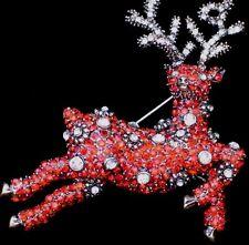 """Heidi Daus REPLICA Christmas Jumping Flying Red Reindeer Pin Brooch Jewelry 2.5"""""""
